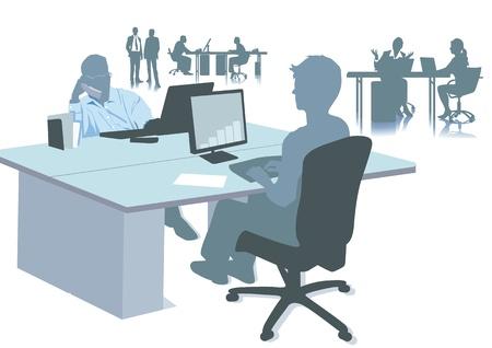 kantoorwerkplekken Vector Illustratie