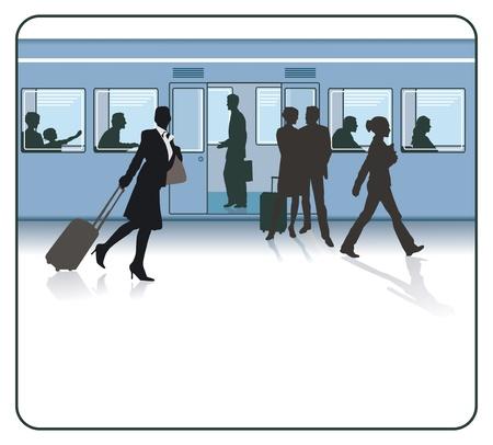 estacion de tren: Los viajeros en la estación