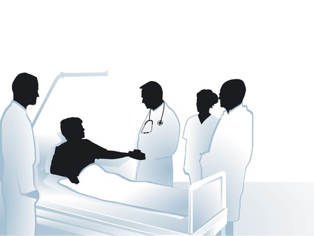 patient: Artsen en verpleegkundigen met de patiënt in het ziekenhuis Stock Illustratie