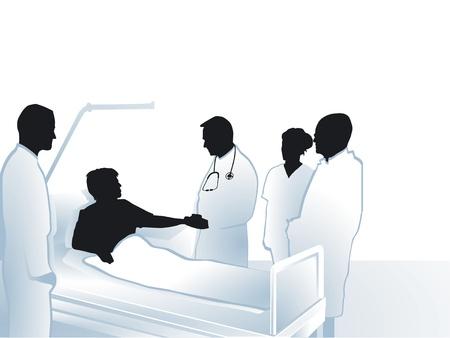 infermiere paziente: Medici e infermieri con il paziente in ospedale