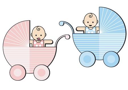 deux bébés dans des poussettes Vecteurs