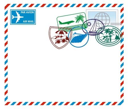 timbre voyage: Lettre par la poste aérienne