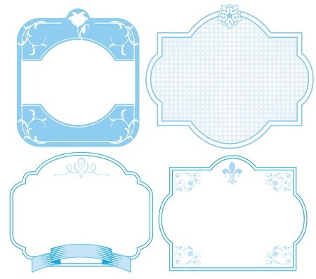 fabric label: light blue label set Illustration