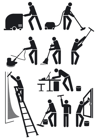 dirty room: cleaners pictogram Illustration