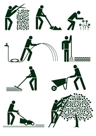 formal garden: Gardening pictogram Illustration