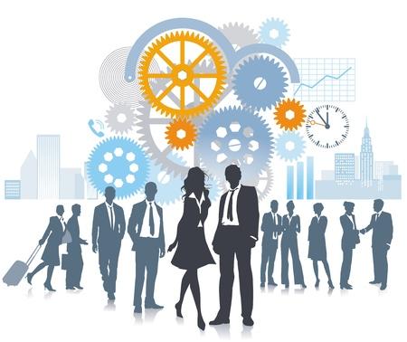 empleados trabajando: Compa��a en el desarrollo y el movimiento