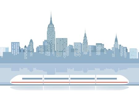 estación del metro: Tren expreso desde el tel�n de fondo de la ciudad