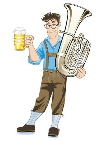 뮌헨: 튜바와 맥주 머그잔 바이에른 음악가 일러스트