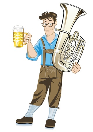 Bavarian Musician with Tuba and beer mugs Vector