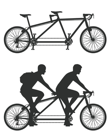 tandem bicycle: Tandem cyclist Illustration