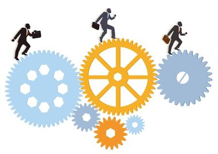 un grupo de directivos en el movimiento Ilustración de vector