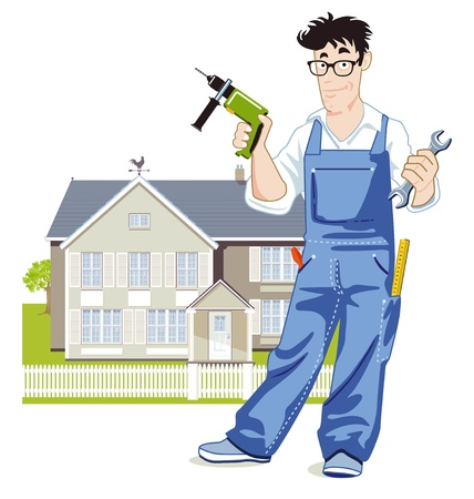 home repairs: handyman with house Illustration