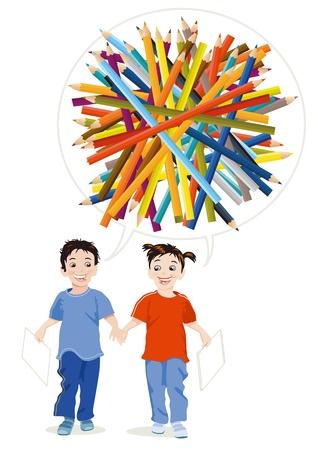 Les enfants dessinent avec des crayons de couleur Vecteurs