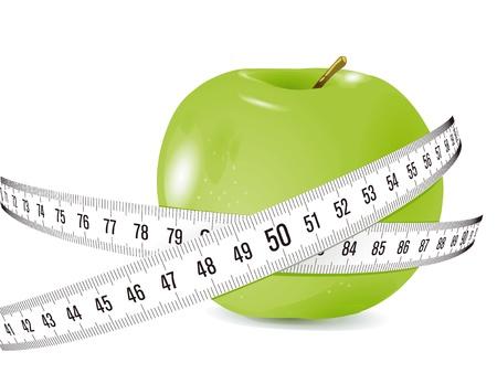 de manzana fresca con cinta métrica