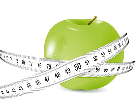 measured: fresh apple with measuring tape