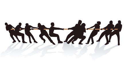 tug war: Together on the rope pull Illustration