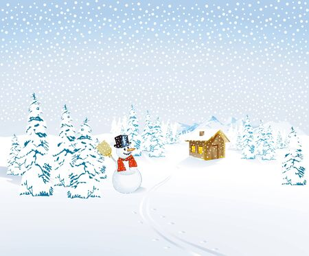 Winter landscape with snowman and Mountain Cottage Vector
