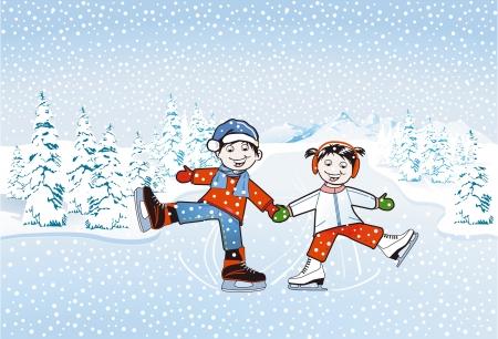soft ice: Children skating Illustration
