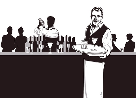 nightclub bar: Waiters and Bartender