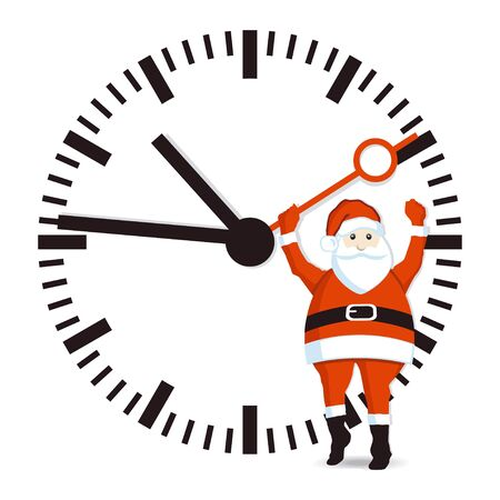Santa with clock Vector