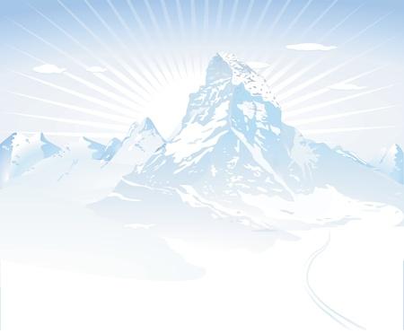 스키: 눈 덮인 산 일러스트