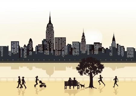 vacancier: Gratte-ciel de la ville