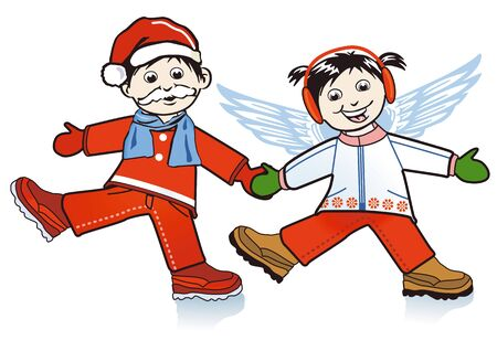 Children play Santa Claus and angel Stock Vector - 15499299