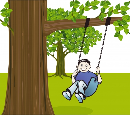 Boy on a swing Stock Vector - 15499300