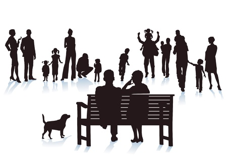 family outdoors: parents, grandparents and children Illustration