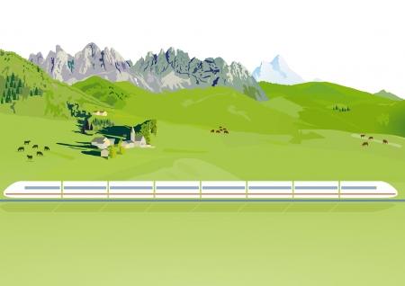 fast train: Express train in a mountain landscape