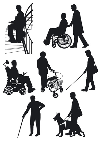silla de ruedas: persona con discapacidad