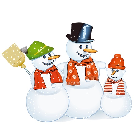 lodges: three cheerful snowmen