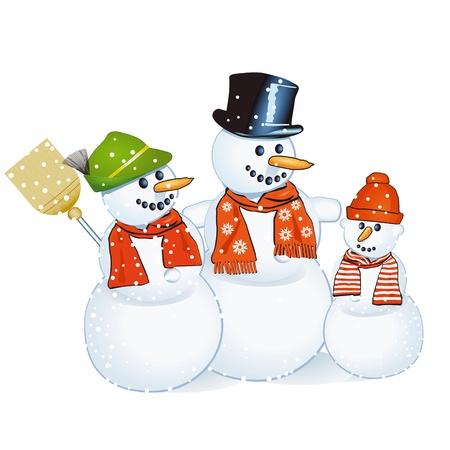 holidays family: three cheerful snowmen