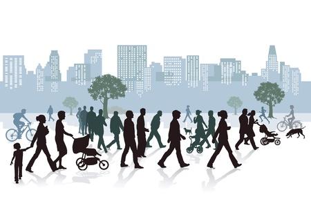 ni�os caminando: Vida de la ciudad Panor�mica