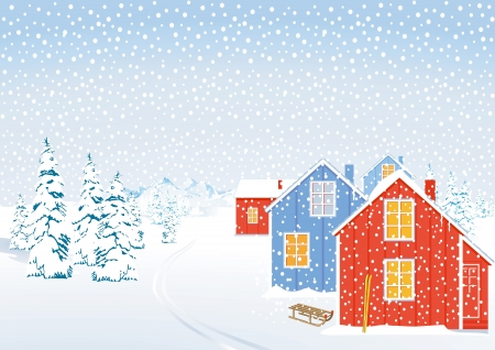 neve montagne: Paesaggio invernale di neve Vettoriali