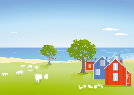 Coastal landscape with houses Stock Vector - 15393170