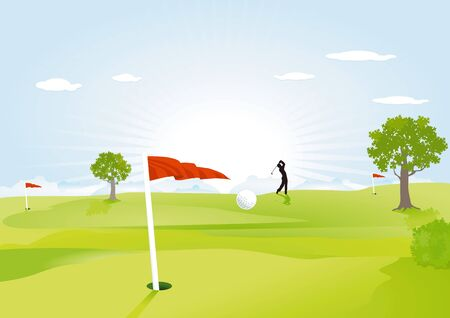 green golf field with red flag  Vector