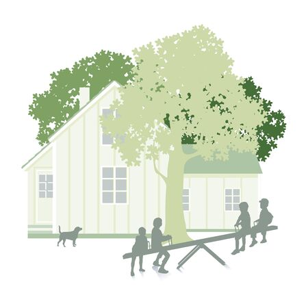 family moving house: Garden with house and kids isolated on white Illustration