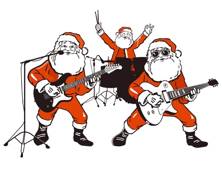 Santa Claus Rock Band Vector