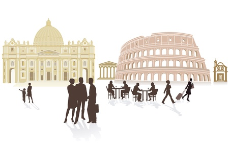 few: Rome travel Illustration