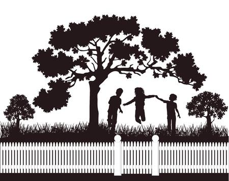 belonging: children playing in the garden Illustration