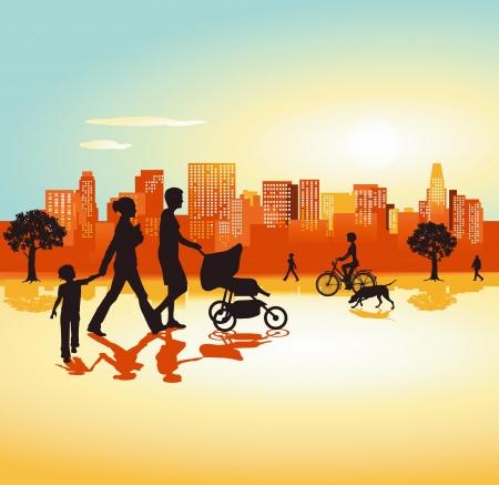 famiglia numerosa: Famiglia dal panorama della citt� Vettoriali