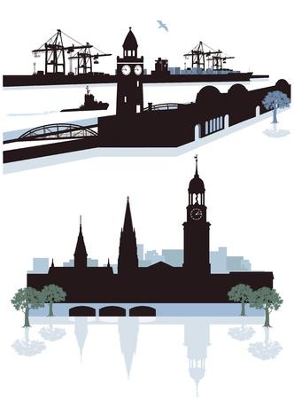 st michel: Hamburg Silhouette Illustration