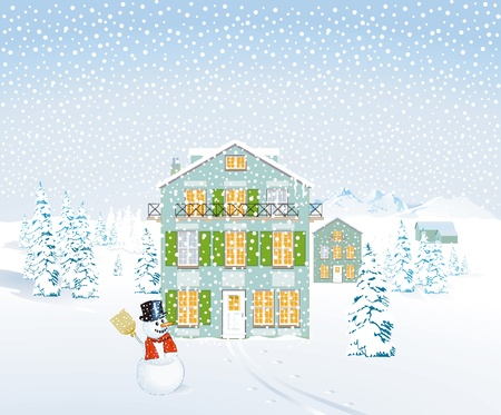 Winter landscape with houses and snowman Vector