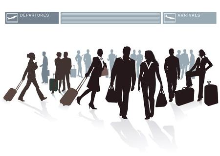 reiziger: Luchthaven Passagiers Stock Illustratie