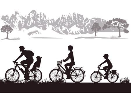 family grass: Bicicleta Familia Vectores