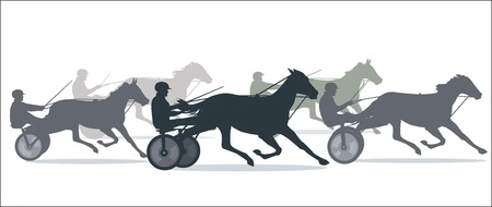 horse harness: Trotting Horse Racing  Illustration