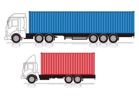 Truck with container Vector