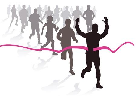 sportswoman: Marathon run Illustration