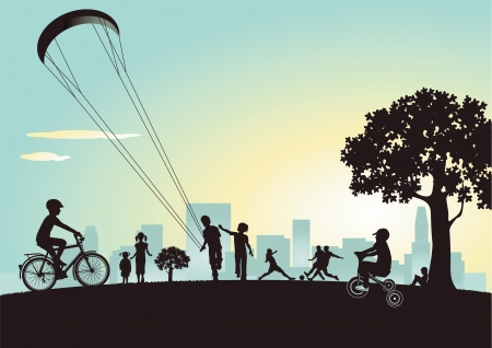 familia parque: jugando en el parque de la ciudad Vectores